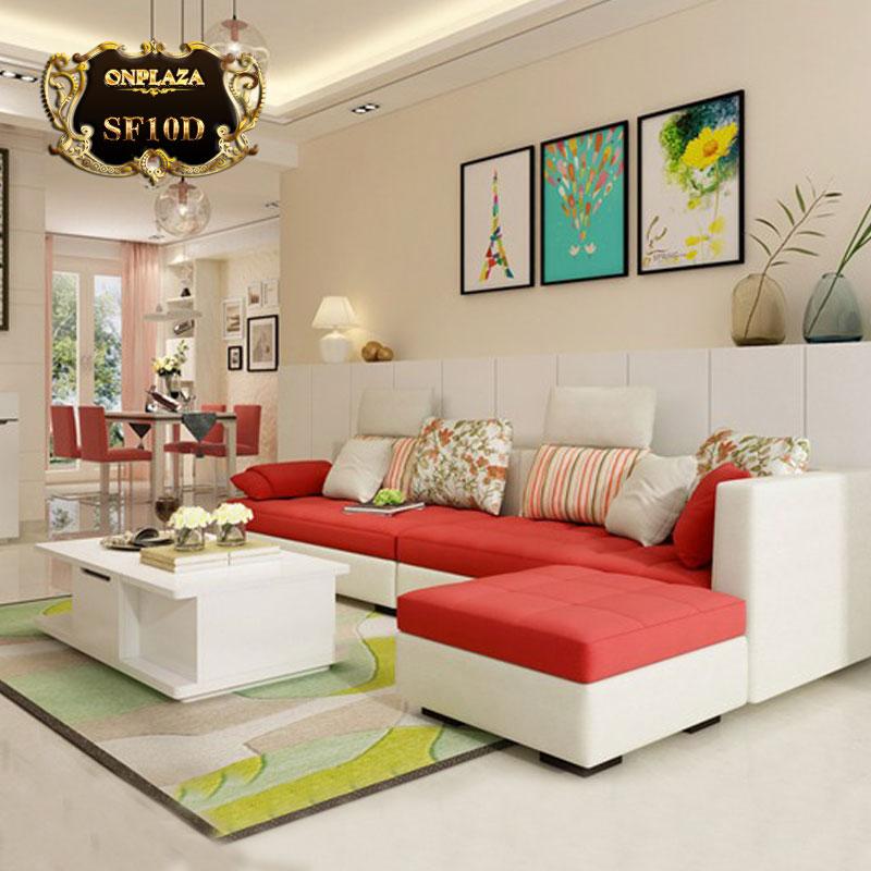 Bộ bàn ghế sofa phòng khách bọc nhung nỉ màu trắng đỏ SF10D