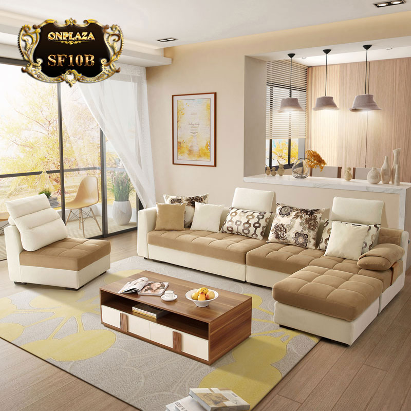 Bộ bàn ghế sofa phòng khách bọc nhung nỉ màu trắng kem SF10B