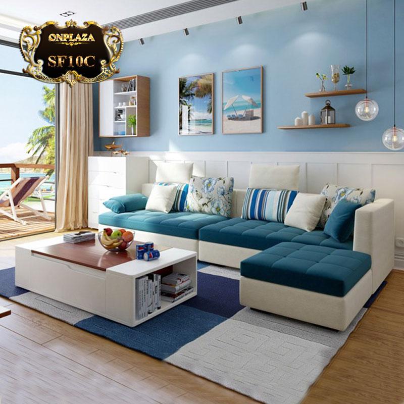 Bộ bàn ghế sofa phòng khách bọc nhung nỉ màu trắng xanh SF10C