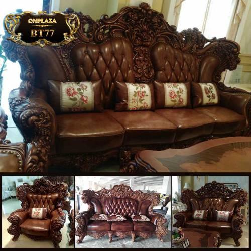 Bộ bàn ghế da cổ điển chạm khắc thủ công phong cách Châu Âu BT77