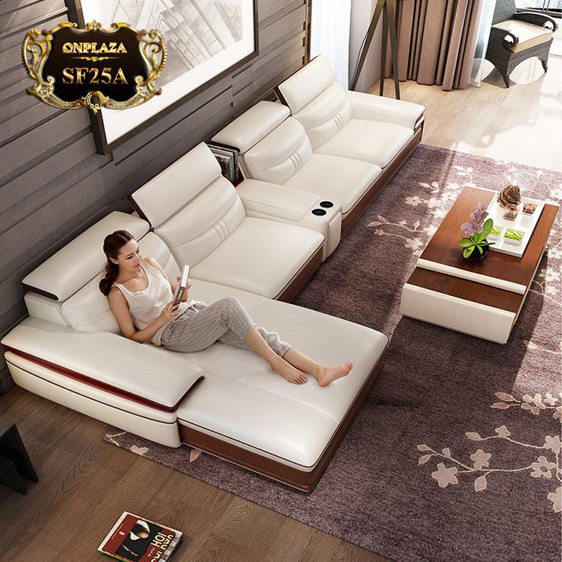 Bộ bàn ghế sofa phòng khách đẹp bọc da SF25A