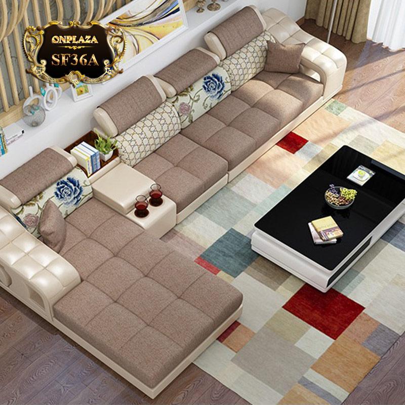 Bộ ghế sofa họa tiết cao cấp cho phòng khách đẹp (màu kem) SF36A-1