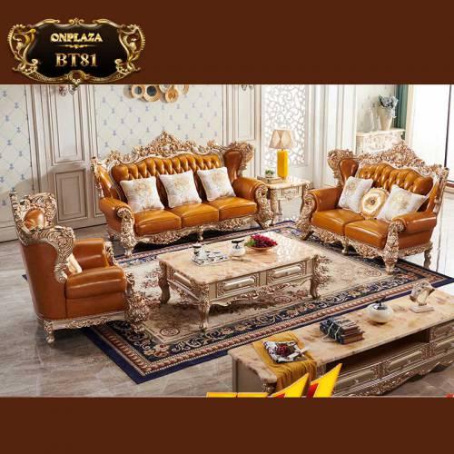 Bộ bàn ghế sofa da chạm khắc 2 mặt phong cách tân cổ điển BT81