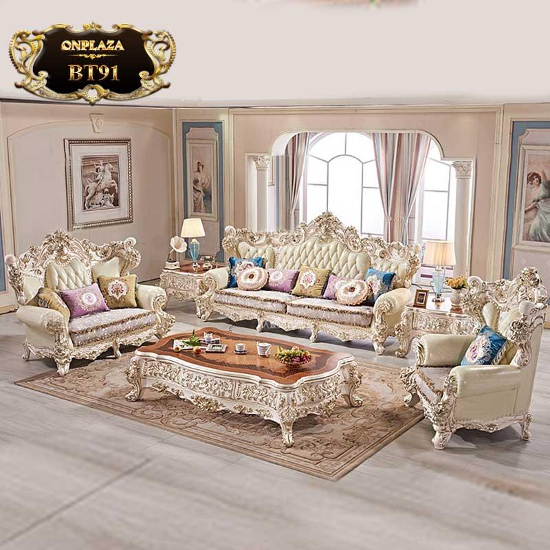 Bộ bàn ghế sofa tân cổ điển sang trọng cho nhà biệt thự BT91