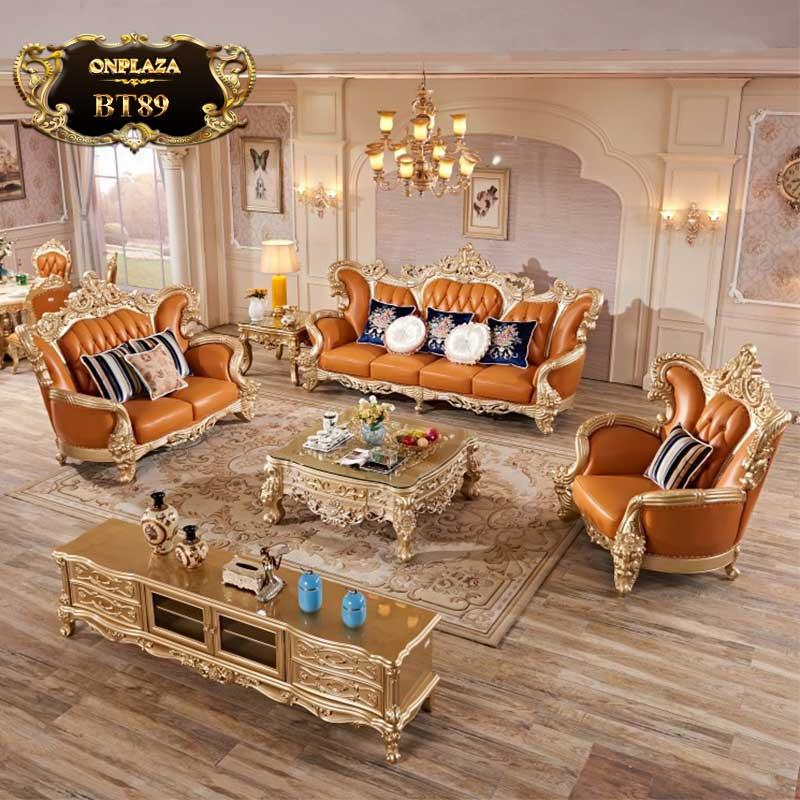 Bộ bàn ghế sofa bọc da tân cổ điển hoàng gia Châu Âu BT89