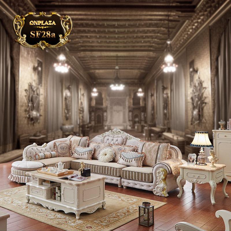 Mẫu sofa bọc nỉ phong cách tân cổ điển châu âu SF28