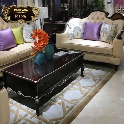Bộ bàn ghế sofa da tân cổ điển sang trọng BT86