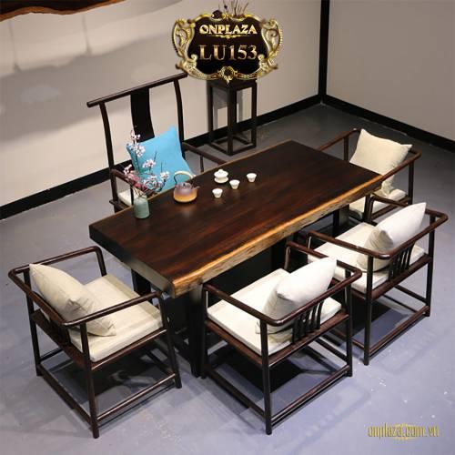 Bộ bàn trà gỗ mun hoa Châu Phi nguyên tấm 7 món cao cấp LU153