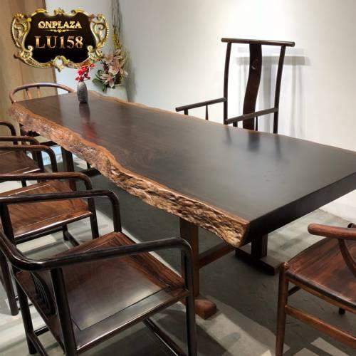 Bộ bàn trà gỗ nguyên tấm phong cách truyền thống cao cấp LU158