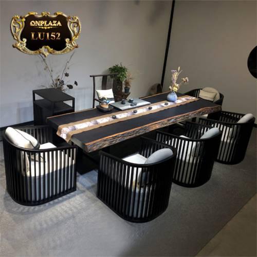 Bộ bàn trà gỗ  sao đen Khánh Hòa nguyên tấm cao cấp LU152