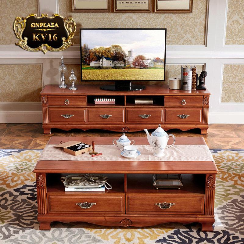 Bộ bàn trà + kệ ti vi gỗ cao cấp cho phòng khách sang trọng KV16