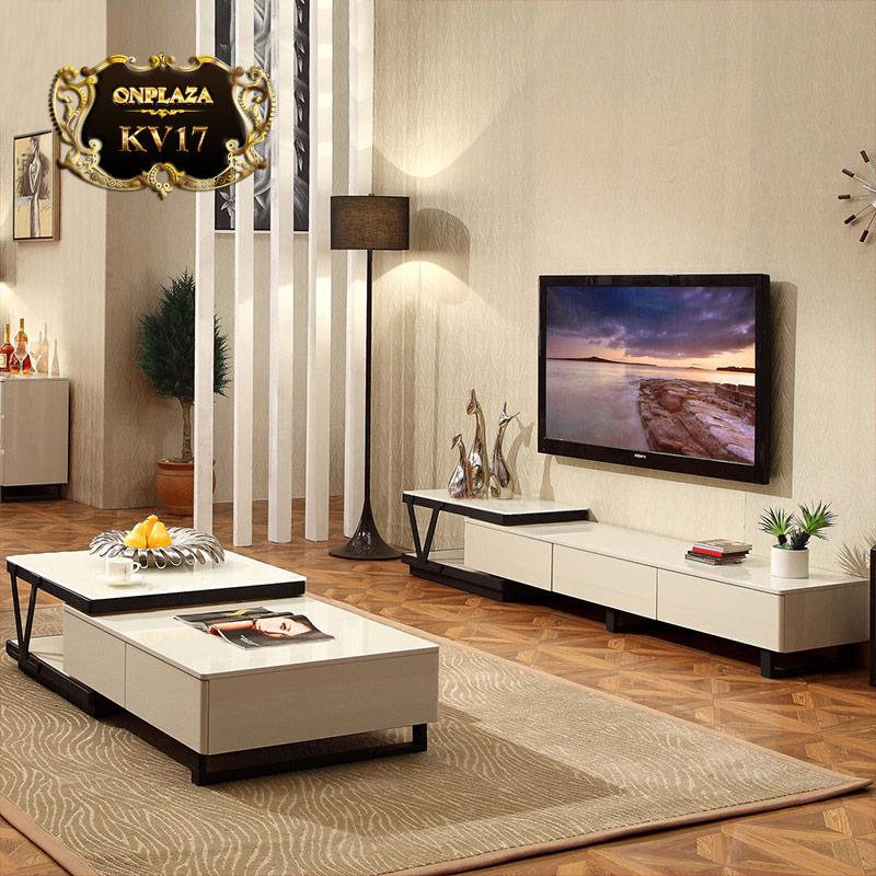 Bộ bàn trà + kệ tivi cao cấp cho phòng khách hiện đại KV17