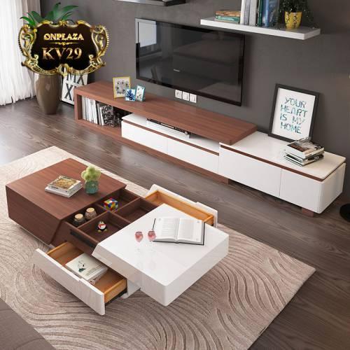 Bộ bàn trà + kệ tivi bằng gỗ đa năng hiện đại thông minh KV29