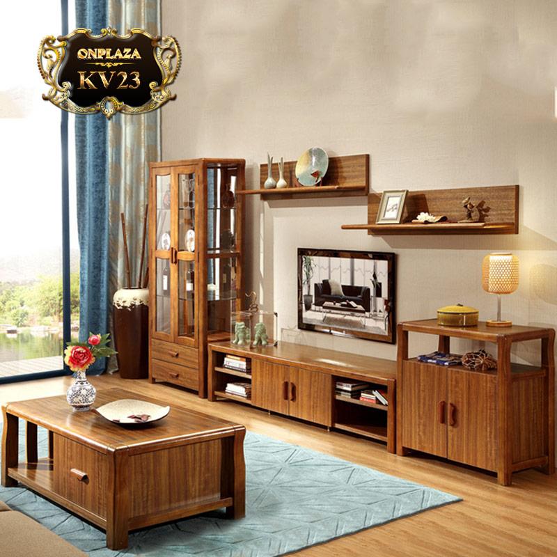 Bộ bàn trà + kệ ti vi gỗ màu hổ phách nhập khẩu cao cấp KV23