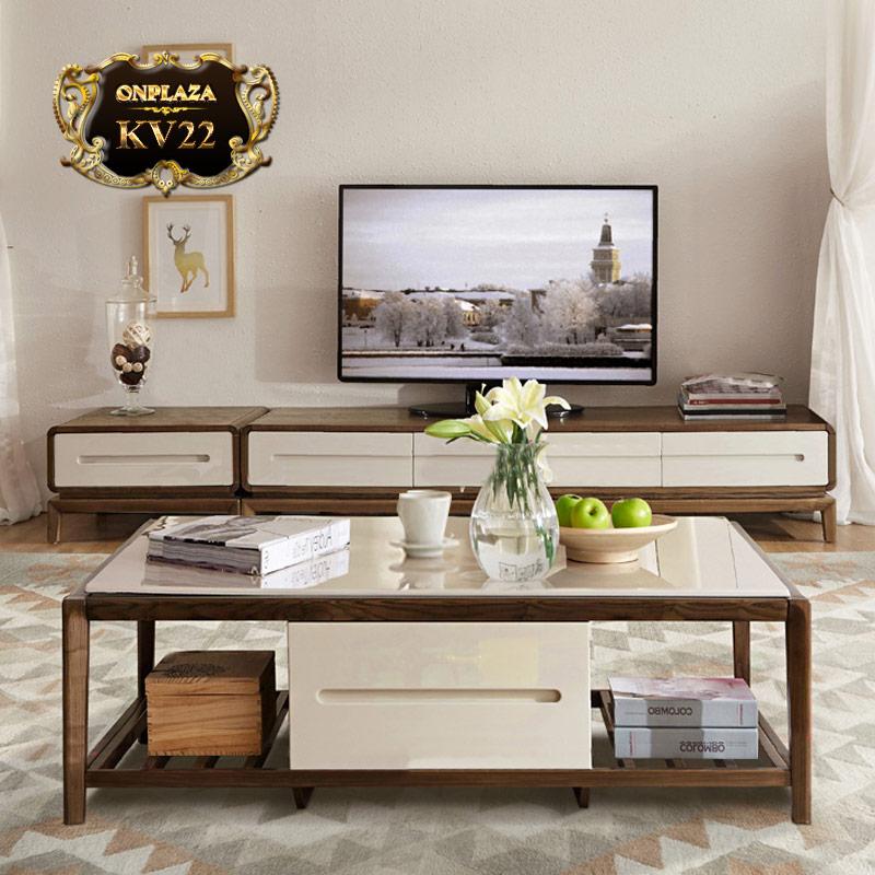Bộ bàn trà+kệ tivi phòng khách nhập khẩu cao cấp KV22
