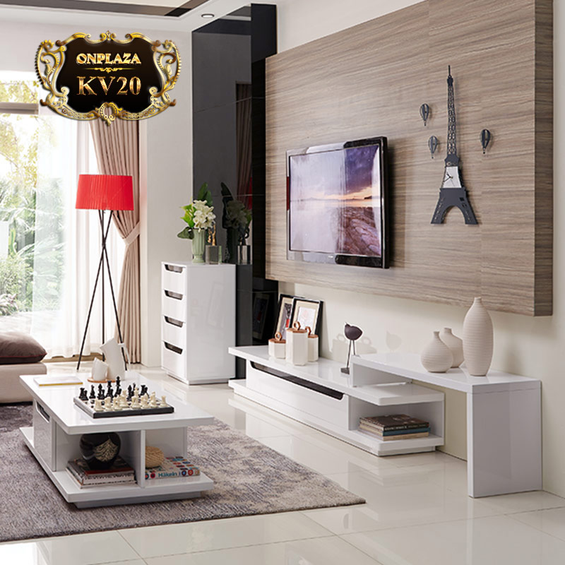 Bộ bàn trà + kệ tivi phòng khách sắc trắng tinh tế KV20