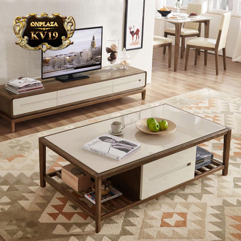 Bộ bàn trà + kệ tivi trang nhã cho phòng khách hiện đại KV19