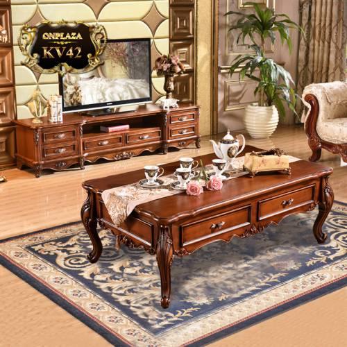 Bộ bàn trà+ kệ tủ tivi phòng khách cao cấp sắc nâu sang trọng KV42
