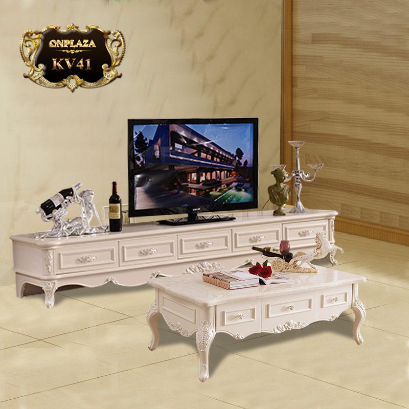 Bộ bàn trà+kệ tủ tivi tân điển cao cấp sắc trắng trang nhã KV41