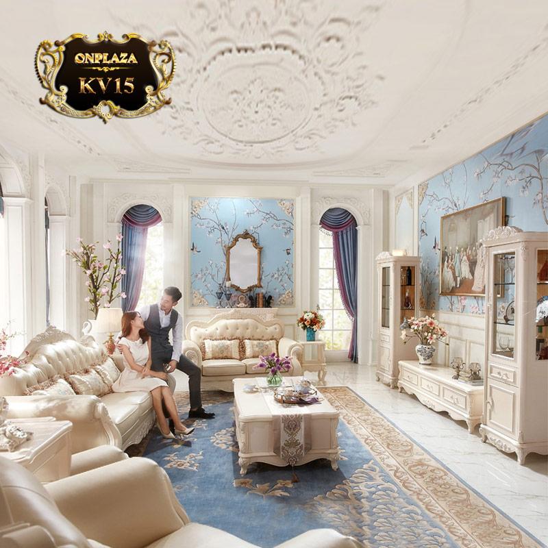 Bộ bàn trà mặt đá hoa cương + kệ tủ tivi tân cổ điển trang nhã, kệ tủ tivi phòng khách, bàn trà phòng khách