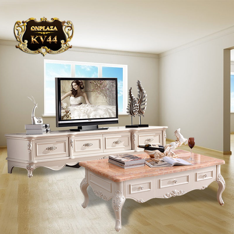 Bộ bàn trà mặt đá hoa cương và kệ tủ tivi chạm khăc tân cổ điển sắc trắng sang trọng KV44