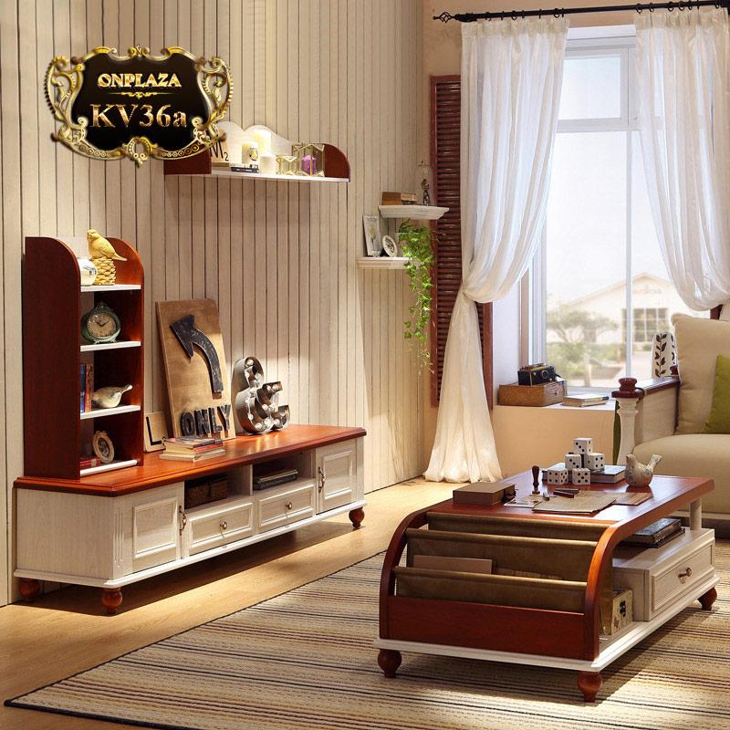 Bộ bàn trà và kệ tủ tivi đẹp cho phòng khách sang trọng KV36a