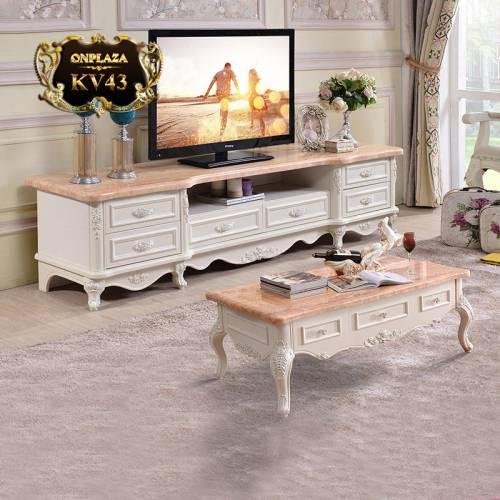 Bộ bàn trà và kệ tủ tivi mặt đá hoa cương phòng KV43