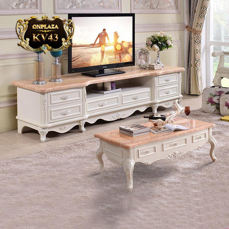 Bộ bàn trà và kệ tủ tivi mặt đá hoa cương phòng khách chạm khắc cao cấp KV43