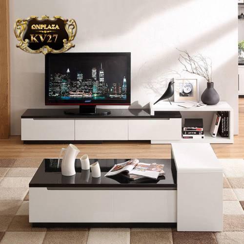 Bộ bàn trà và kệ tủ tivi phòng khách hiện đại nhập khẩu cao cấp KV27