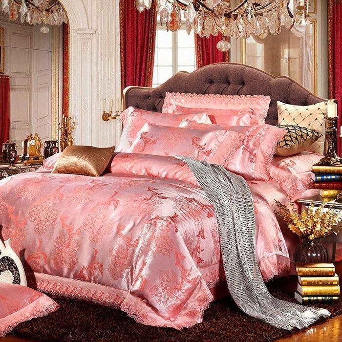 Bộ vỏ chăn ga và gối nền hồng CG055 họa tiết tân cổ điển châu âu