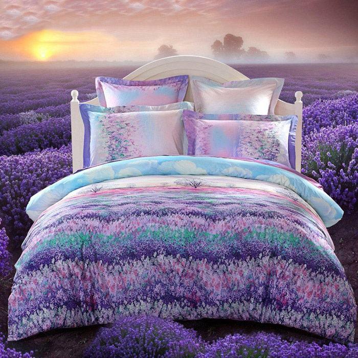 Bộ chăn ga và gối CG039 họa tiết cánh đồng hoa oải hương