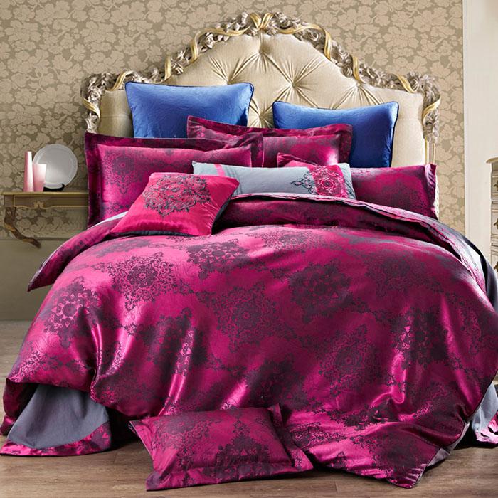 Bộ chăn ga và vỏ gối CG069 nền hồng tím họa tiết cách tân
