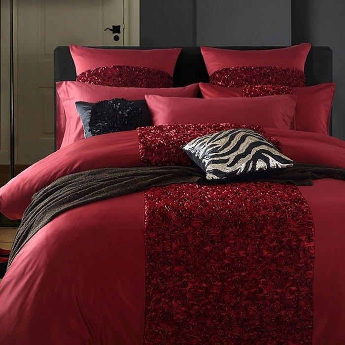 Bộ vỏ chăn ga gối màu đỏ rượu CG088 thêu hoa hồng