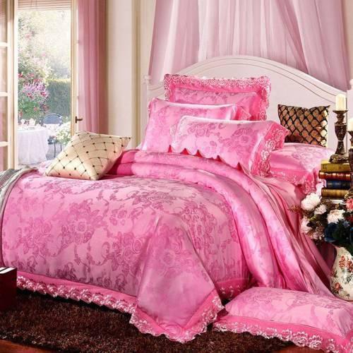 Bộ vỏ chăn ga gối nền hồng CG052 họa tiết hoa hồng