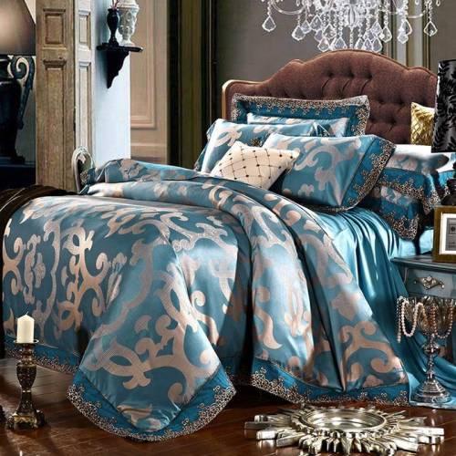 Bộ chăn ga và gối cổ điển CG051 màu xanh dương họa tiết hoa văn