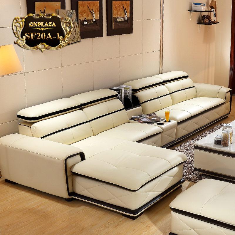 Bộ ghế sofa da cao cấp phong cách châu Âu hiện đại SF20A-1 màu kem