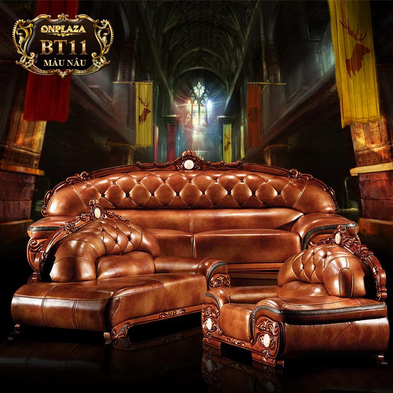 Bộ ghế sofa bọc da thật chạm hoa văn màu gỗ nâu cao cấp PN49