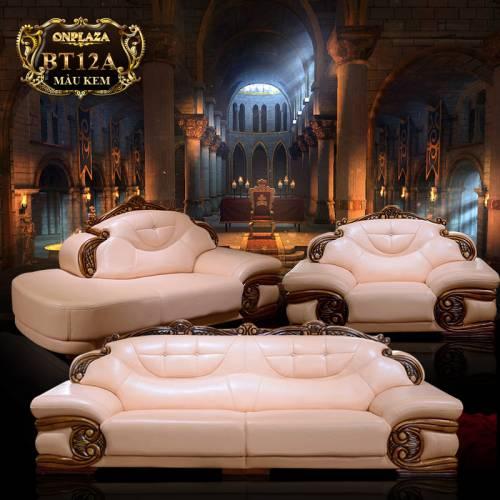 Bộ ghế sofa bọc da phong cách tân cổ điển BT12A