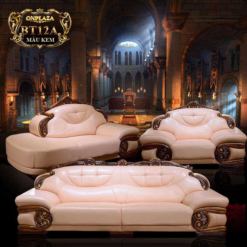 Sofa phòng khách Thiết kế bọc da tinh tế cho phong cách tân cổ điển