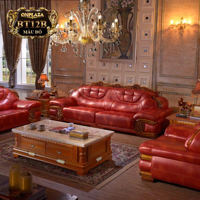 Bộ ghế sofa bọc da thật chạm hoa văn vân gỗ PN50-2