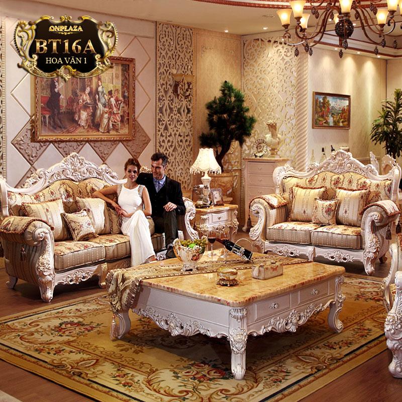 Bộ ghế sofa bọc đệm hoa văn phong cách châu Âu BT16A