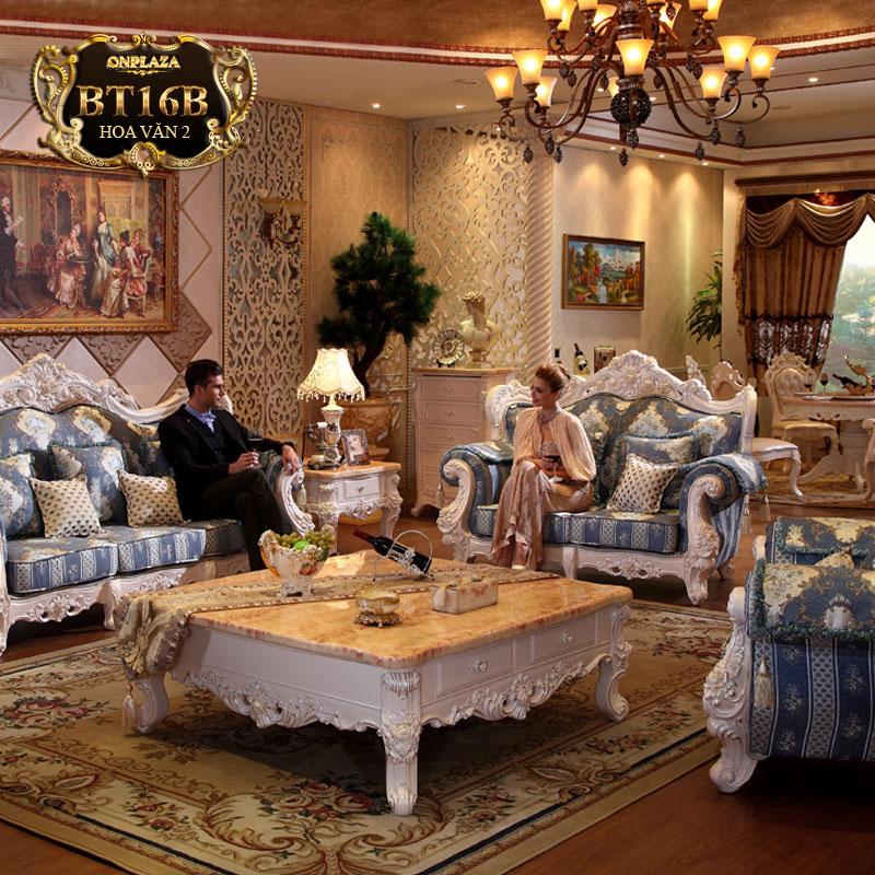 Bộ ghế sofa bọc đệm thêu hoa văn phong cách châu Âu BT16B