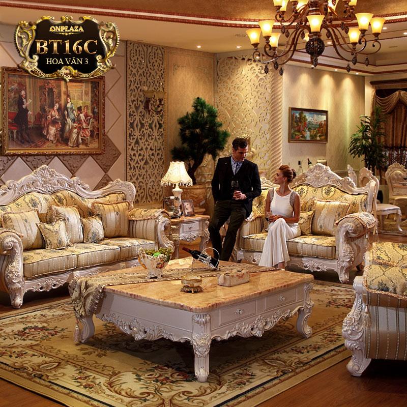 Bộ ghế sofa bọc đệm phối hoa văn phong cách châu Âu BT16C