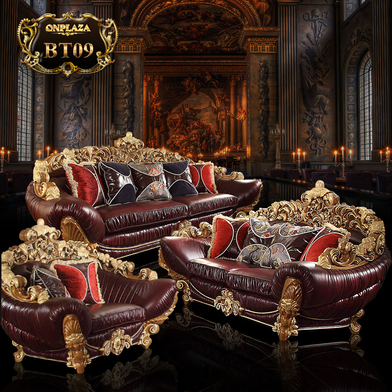 Bộ ghế sofa bọc nệm da chạm khắc họa tiết Hoàng gia cao cấp PN109-1