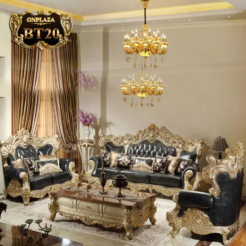 Bộ ghế sofa bọc nệm đen chạm khắc mạ vàng PN93