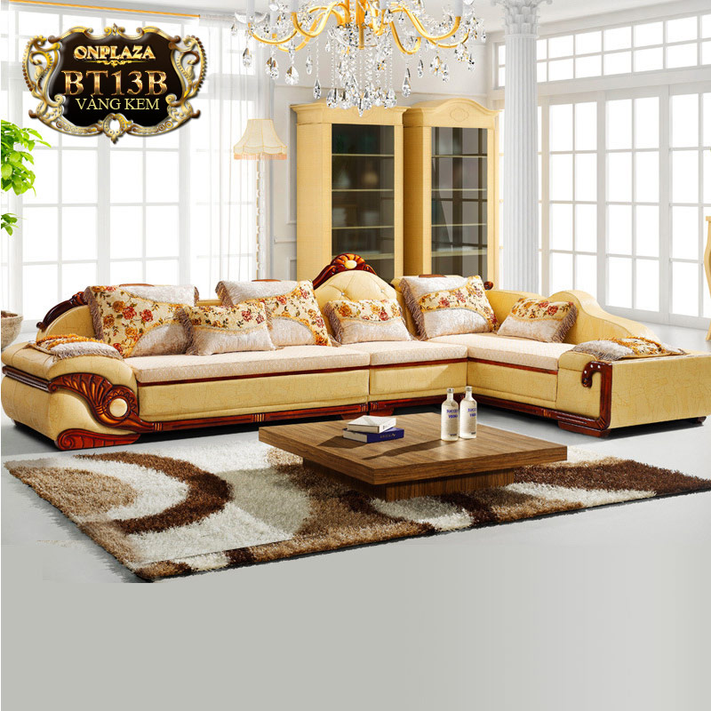 Bộ ghế sofa bọc nệm họa tiết + bàn trà mặt đá cẩm thạch PN53B
