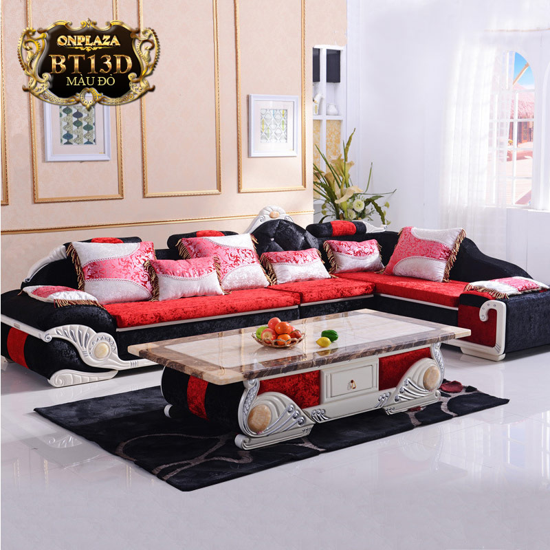 Bộ ghế sofa bọc nệm họa tiết + bàn trà mặt đá cẩm thạch BT13D