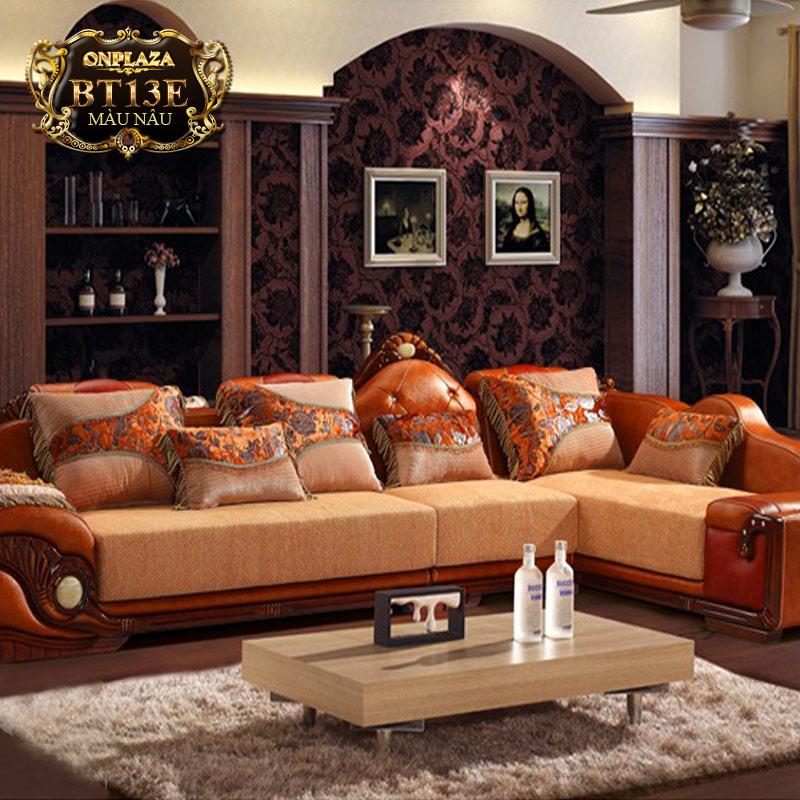 Bộ bàn ghế sofa góc chữ L màu cam BT13E