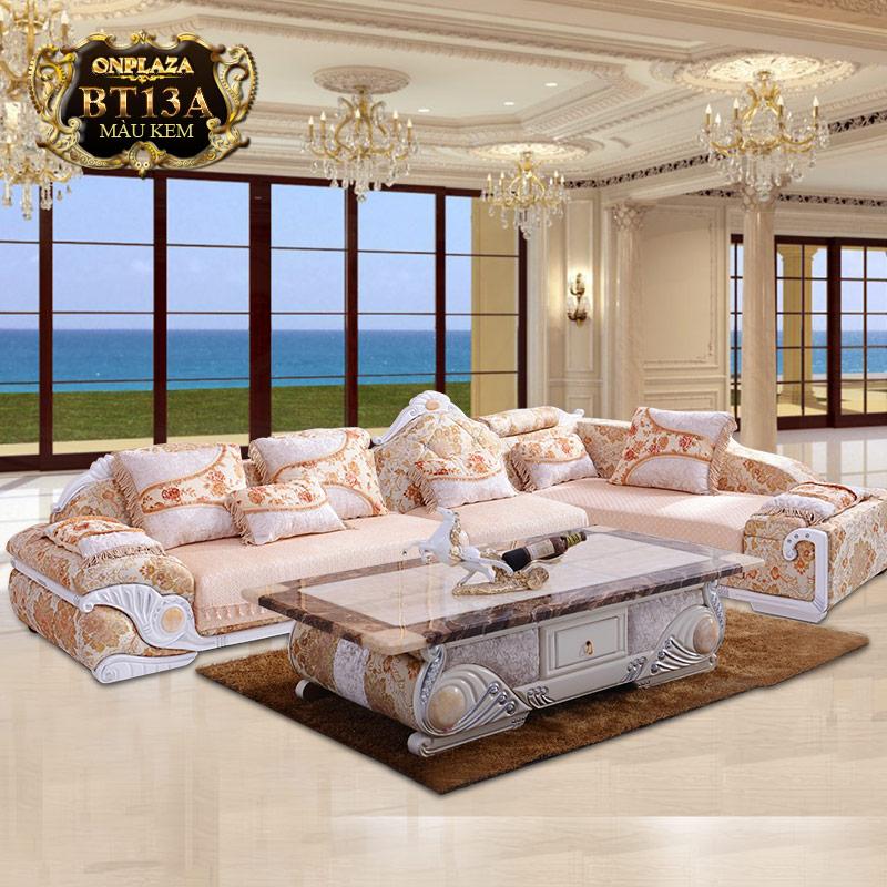 Bộ ghế sofa bọc nệm họa tiết + bàn trà mặt đá cẩm thạch PN53A