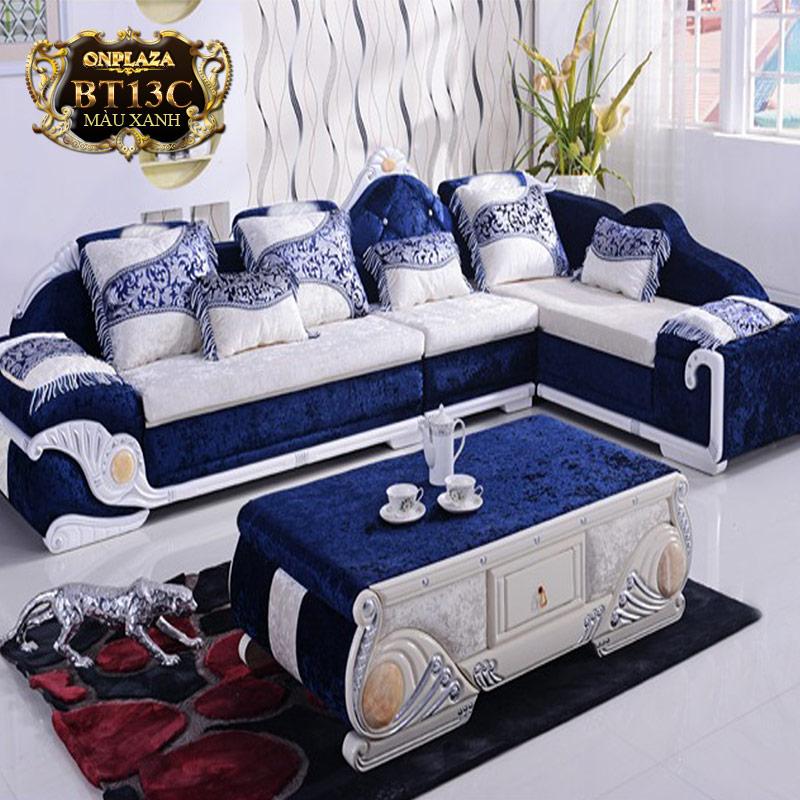 Nội thất bàn ghế sofa phong cách tân cổ với điểm nhấn là sofa xanh